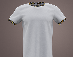 3D model White tee short sleeve with african bits