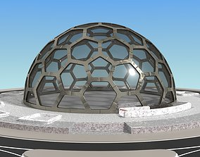 medium hexagon dome with an underground entrance 3D model