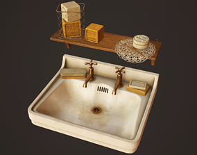3D asset Victorian Sink and Bath Props - PBR Game