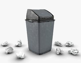 Trash bin and crumpled paper 3D asset