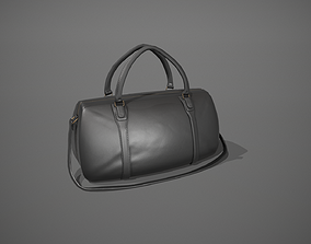 3D asset Black Leather Duffle Bag
