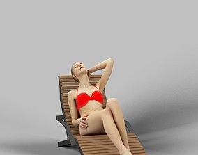 3D model Barbara A Caucasian Female Lying On A Lounger 4