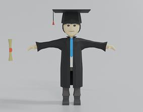 3D model Low Poly Cartoon Graduation Guy