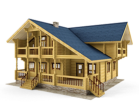 Log house - rounded log 3D model architecture