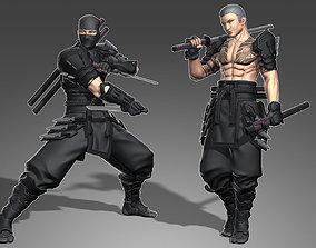 3D asset rigged Armored Male Ninja