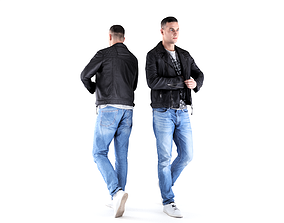 3D model Man in leather jacket 05