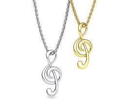 Music Note Treble Clef Note Necklace Pendant music 1