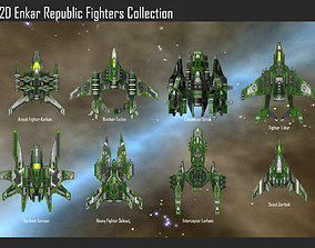 2D Enkar Republic Fighters Collection 3D model