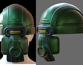 game-ready Gas mask helmet 3d model scifi Low-poly 2