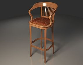 3D model Antique wooden bar chair with sleeves