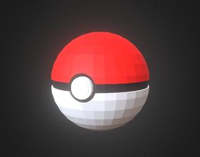 Pokeball 3D model low-poly