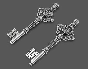 Intricate miniature key pendant 3D printable model