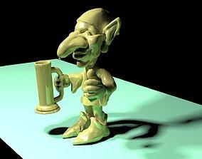 goblin with beer 3D print model