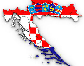 3d Political Map of Croatia