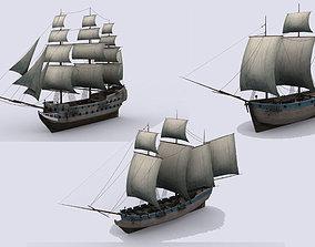 Three sailing ship 3D model
