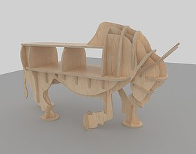 3D model CNC vector for plywood bull coffee table