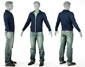 3D asset Male Casual Outfit 20 Pull Jeans Shoes