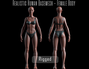 3D model Realistic Human Basemesh - Rigged - UVMapped - 1