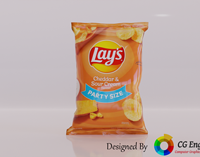 low-poly Lays 3D Model - Lays Cheddar Sour Cream Flavour