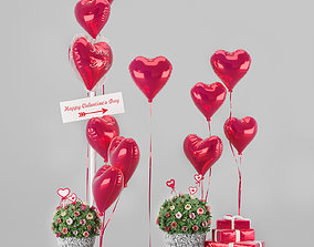 Decorative set Valentines Day 3D model