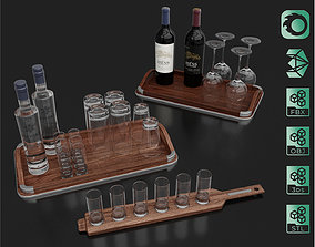 Vodka and Wine bottles with glass on board set 3D