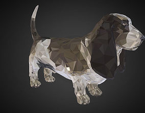 low-poly Dog Black Basset Hound Low Polygon Art Animal