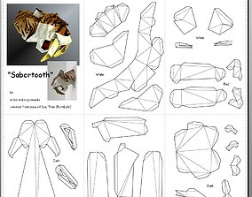 Saber Tooth Tiger LowPoly pattern 3D model