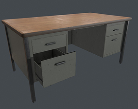 3D asset Metal Office Desk - PBR Game Ready