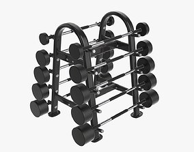 Barbell rubber set on rack 3D