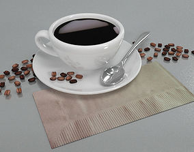 Coffee Cup with Spoon and seeds 3D model game-ready