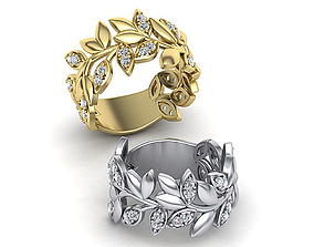 Leaves Diamond ring 3dmodel T-style design usa