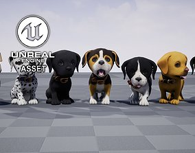 Stylized Puppy 3D model animated