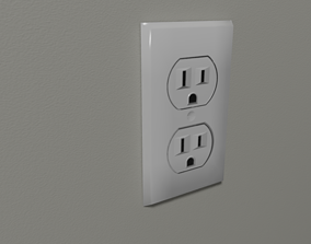 3D model Low-poly 125 VAC Wall Outlet - USA