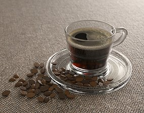 Elegant Glass Coffee Cup 3D asset