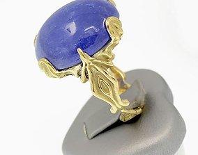 Organic ring design - cabochon oval 3D printable model