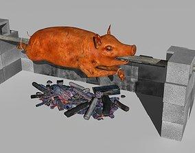 3D asset low-poly spit roast