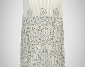 3D model Plits Cream leather and lace maxi skir
