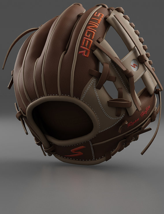 Baseball Glove Brown Render