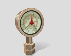 3D model Pressure Gauge brass