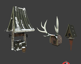 Stylized Well and Bird House 3D model