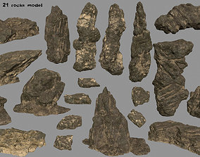 3D asset desert rocks set