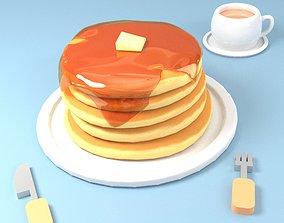3D model Pancake and tea