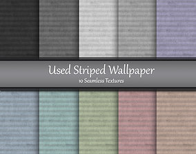 Used Striped Wallpaper Seamless Textures Set 3D