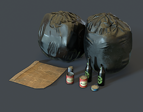 3D asset Plastic Garbage Bags and props