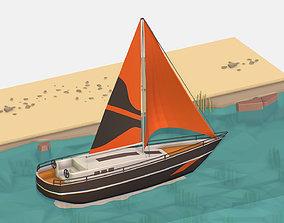Isometric Black Yacht Scene Motor Boat Black 3D model