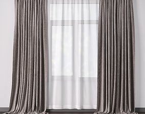 Curtains with metal curtain rod 01 3D model