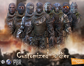 3D asset rigged PBR Customized Soldier