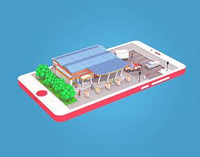 3D model Cartoon Supermarket on Phone screen