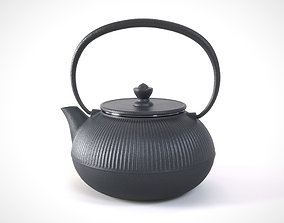 Traditional cast iron Japanese teapot 3D