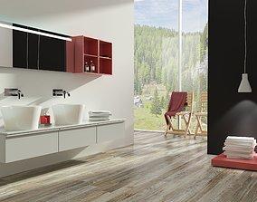 modern bathroom with parquet floor 3D model